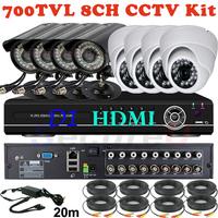 Free shipping new full 8CH D1 960H HDMI 1080P H.264 VGA DVR kit 700tvl 36IR video outdoor camera CCTV system mobile surveillance
