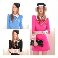 New 2014 Spring Autumn Dress Vintage Peter Pan Collar Dress Hollow Out Flower Slim Dresses Vestidos Party Bodycon Dress 2407