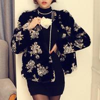 2014 Winter New Arrival Women Faux Fur Coat Fashion Full Sleeve Flower Pattern Warm Coats Casaco De Pele Free Shipping WWC073