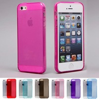 New 2014 TPU case cover  for iphone 5 5s colorful candy color case with Pluggy free shipping 31CA0073#S5