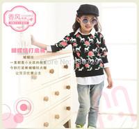 Freeshipping Prosthetic two-piece HOT 2014 autumn new Korean version children clothing Render shirt Printed long sleeve T-shirt