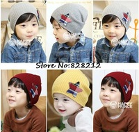 Solid Color Crochet Baby Hat Baby Boy Knitted Stripped Beanie Caps Kids Warm Berets Sports Hat 5pcs/lot Free Shipping MZD-14001