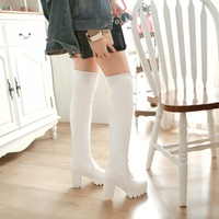 plus size Eur 33-43 platform pumps winter autumn women booties shoes woman fashion over knee boots female high heels SX140966