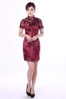 Free Shipping Womens QiPao Dress Fashion Vintage Short Cheongsam Dragon&Phoenix S-6XL 4[70-8001]