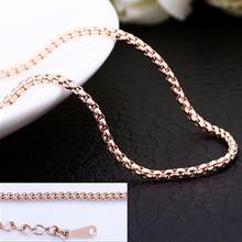 Barato itens promocionais grátis frete wholesale18K rose colar corrente de ouro 18 K grade circular moda charme jóias PC016(China (Mainland))