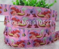 "10 Yards 1"" 25mm Ariel Little Mermaid Print Grosgrain Ribbon Hair BOW Crafts DIY Pink Color Cartoon Printed Festival Ribbons"