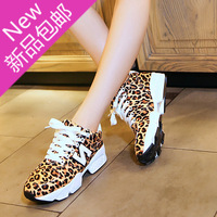 New 2014 fashion leopard print women's sport shoes lacing round toe comfortable summer platform sneaker