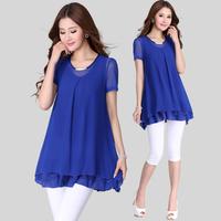 Summer loose lace shirt plus size clothing mm short-sleeve medium-long basic shirt chiffon shirt top
