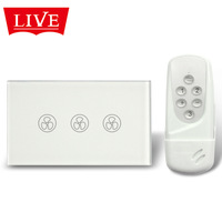 LivePower Free Shipping AU/US Type Touch Sensitive Fan Switch, 3-Mode Speed Touch Fan Switch with Remote Control, RF 433Mhz