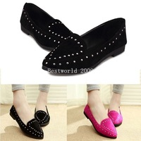 New Women Womens Casual Faux Suede Rivet Flat Punk Slip Ankle Sweet Shoes Asian Tag Size 38-40