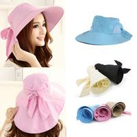 Top Quality Brand Fashion Women Anti UV Sun Hat Foldable Wide Brim sunhat Self-tie Bow Summer Beach Floppy chapeu Cap Headwear