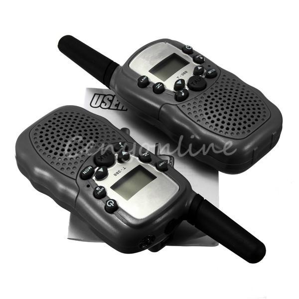 T-388 2pcs Dual Black Adjustable Mini Portable Multi Channels 2-Way LCD 3KM UHF Car Auto VOX Radio Wireless Travel Walkie Talkie(China (Ma
