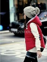 Free Shipping Womens Waistcoat Trendy Sleeveless Hoodies Autumn Winter Cotton Short Vest  2 Colors M~L [5 70-6184]