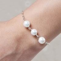 2014 New 925 Sterling Silver Color Chain Pearl Bracelet Bangle For Fashion Women Jewelry Wedding Gift