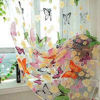 Slimming Tulle Butterfly Door Window Screens Balcony Curtain Panel Sheer Scarfs