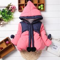 Girls Winter Cotton Children Clothing Hooded Zipper Outerwear Coat Baby Girls Jacket Free Shipping K8043