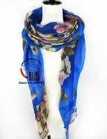 2014 Autumn Winter American and Europe hottest women Gradient Flower voile warm soft silk scarf shawl cape Wrap 8 Colors