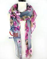 Wholesale  2014 Popular Gradient Voile Scarf  Flower Pattern Summer Super Long Brand Silk Scarves Shawl For Women 180x90cm Grey