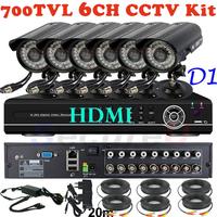 Free shipping 6ch CCTV System 700TVL bullet IR Cameras Security Video System Network Cloud HDMI D1 DVR Recorder CCTV kit System