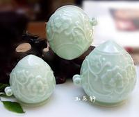 ES050 Jingdezhen China ceramic bird feeder cup, heart shape, Pea green glaze,Relief  peony figure design,3Pcs one sets