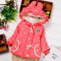 Children's winter coat Baby Girls Hooded Button Style Ruffles Hem Children Clothing Cotton Outerwear jacket Free Shipping K8037