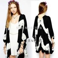 New 2014 Women Floral Kimono Cardigan 2014 Summer Tie Dye Top Shirt New Thin Sun Protection Blouse Big Size ~1 SV005307