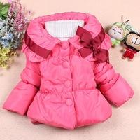 Baby Girls Warm Winter Outerwear Coat Bow Decor Collar Button Style Long Girls Coat Free Shipping K8034