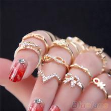 1 Set 7 pcs Women's Rhinestone Bowknot Knuckle Midi Mid Finger Tip Stacking Rings 01SJ(China (Mainland))
