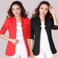XL~4XL 2014 Autumn Women Candy Color Blazers Plus Size XXXL Slim Small Suit Long-sleeve Jacket Coats Work Wear