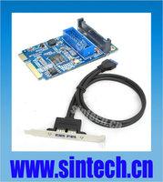 Sintech Mini PCI-e to dual USB 3.0 port adapter card + 50CM 20Pin header cable