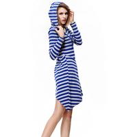 Women's Dresses 2014 New Autumn Winter Dress Fashion Cotton Striped Casual Dress Plus Size Hooded Dress Women Clothing Blue