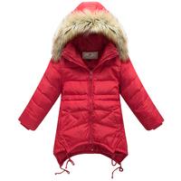 Girls Down Coat Children's Down Jacket Duck Down medium-long female child winter thickening slim duck down without hood