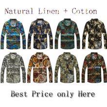 2014 New mens shirts long sleeve Shirts floral print Korean Slim casual men's linen shirt flower plus size 5XL 4XL 3XL xxl xl lm(China (Mainland))