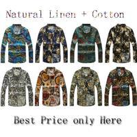 2014 New mens shirts long sleeve Shirts floral print Korean Slim casual men's linen shirt flower plus size 5XL 4XL 3XL xxl xl lm