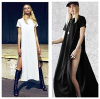 Celebrity Sexy Women Shirt Dresses High Side Splits Maxi Long Tee Dress vestidos de fiesta Casual Clubwear White Black