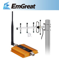 New Gold LCD Display GSM 900MHz Cell Phone Mobile Signal Booster Repeater Amplifier+Antenna+10m Outdoor Yagi Antenna P0015634