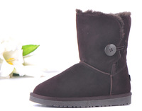 Boots Women Genuine Leather Women's Winter Thick Warm Short Snow Boots Black Brown Camels Grey 2014 Fashion New Shoes