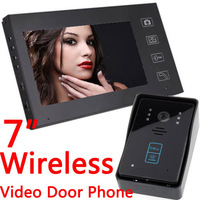 "Free Shipping Home Security!!! 2.4G Wireless Video Door Phone Intercom Doorbell Touch Key Camera with 7""LCD Monitor"