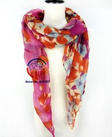 Free Shipping 2014 New Europe Print Fashion Voile  Flower Pattern Summer Super Long Brand Silk Scarves Shawl For Women 8 Colors