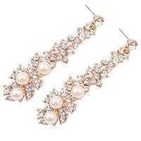 Fashion Graceful Women Evening Jewellery Full Crystal Pearls  Gold Filled Long Drop Earrings For Women