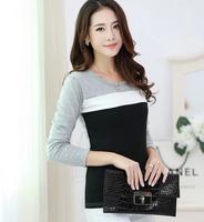 2014 New Women's Clothing loose T shirt Long Sleeve Stripes Sweatshirts Casual smock Tops Women 225