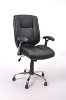 Bonded leather &PVC, chromed armrest with pad, 320MM chromed base, nylon castor,Heavy Nylon Base with Dual Wheel Carpet Casters