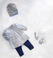 New Fall  Girl Cloths Sets Cute Knitted Baby Hat+Long Sleeve Dress+Legging Pant Children Automnd 3pcs Sets 6sets/lot