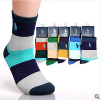 2014 New Men's Combed Cotton Brand Socks Man Polo Sport Socks Mens Colorful Dress Sock Meias Soks Calcetines 5 pairs /lot