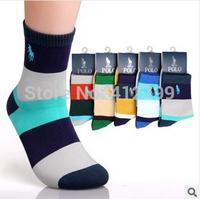 2014 New Men's Combed Cotton Brand Socks Man Polo Sport Socks Mens Colorful Dress Sock Meias Soks Calcetines 5 pairs /lot