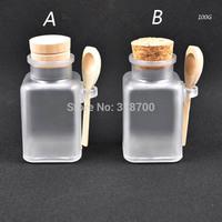 Free shipping - 24 *100g Square bath salt ABS Bottle, 100ml powder plastic bottle, bath salt bottle with wooden spoon