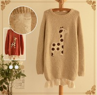 Lacing layer  cartoon  Giraffe applique  cute  pullover  vintage mori girl sweater