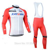 2014 Tour de France KATIOLUA  Winter Thermal Fleece Cycling Clothing Cycling Set Winter Fleece Long Cycling Jersey and Bib Pants