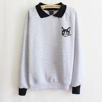 Hot Women Lapel Neck Pullover Sweater Cat Printed Sweater Loose Blouse Coat