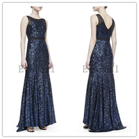 2014 new luxury gorgeous sequins Formal evening dress host Elegant Long evening Dress party dresses E1391